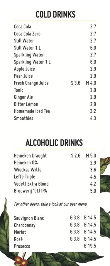 Labs Menu cold drinks alcoholic drinks